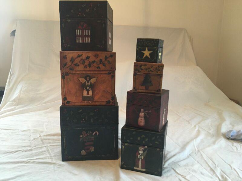 Bob's Boxes Primitive Colors Christmas Set Of 7 Stackable Boxes-Susan A Winget
