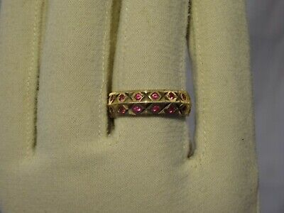 Vintage Size N 1/2 9ct Pink Sapphire Full Double Eternity Gold Ring Hallmarked