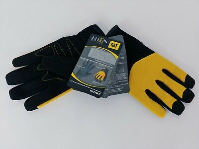 Cat Work Gloves Size 9 Large Yellow Black Adj Wrist Padded Palm Breathable