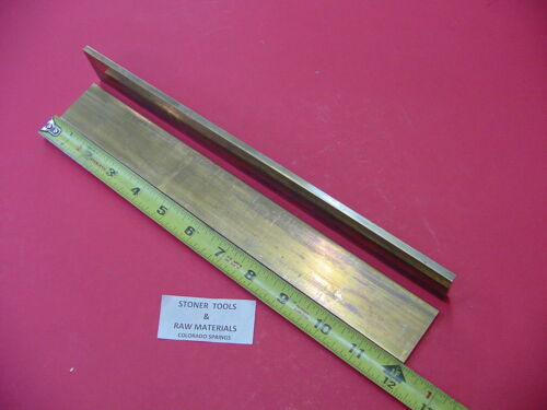 "2 Pieces 1/8"" x 1-1/2"" C360 BRASS FLAT BAR 12"" long Solid Mill Stock H02 .125"""