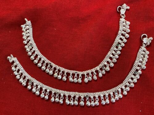 Banjara Anklets Tribal silver bells charm ankle bracelet foot India jewelry 10.5