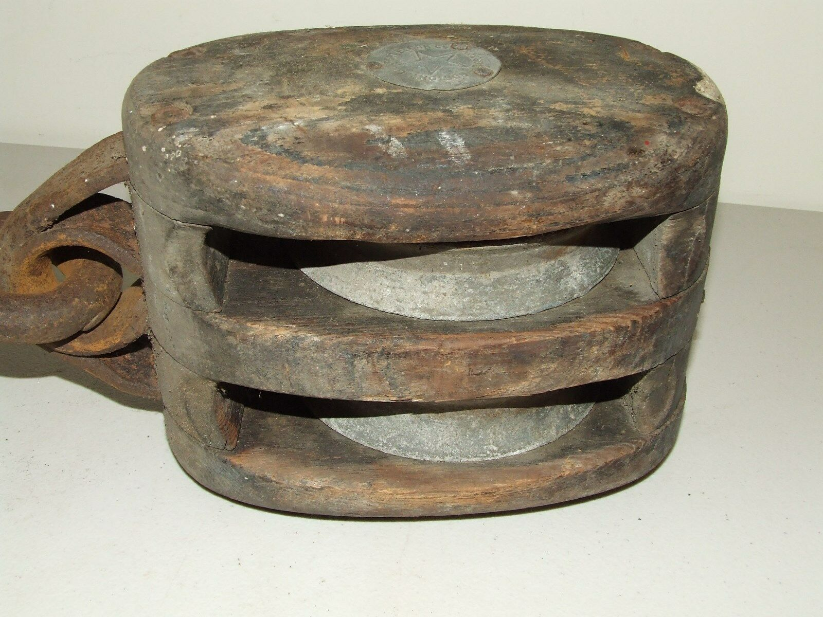 Antique Boat Ship Maritime Double Block & Tackle Pulley Boston & Lockport Block