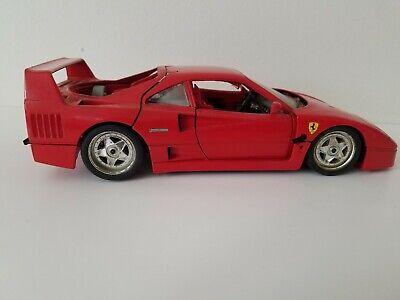 Ferrari 1/18 Scale Die Cast Model BURAGO 1987 Ferrari F40 Red Adult Toy Car Rare