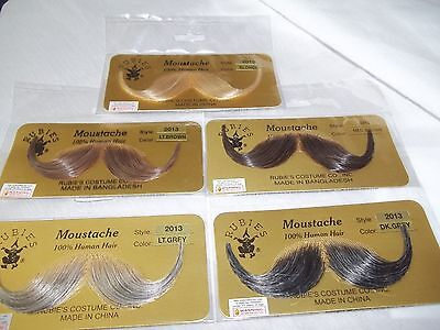 Moustache Human Hair Professional Rubies # 2013 Greys Browns Bld Blk Handlebar (Grey Moustache)