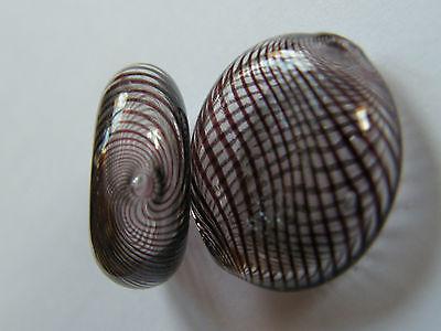 8 Hand Blown Art Glass Lampwork Flat Circular Beads, Brown Spiral. Bead/Crafts