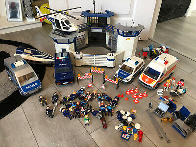 Playmobil Police Bundle - Station And Vehicles