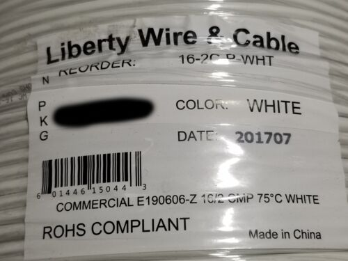 Liberty Wire 16/2C Stranded Plenum Media/Security/Control Cable CMP White /100ft