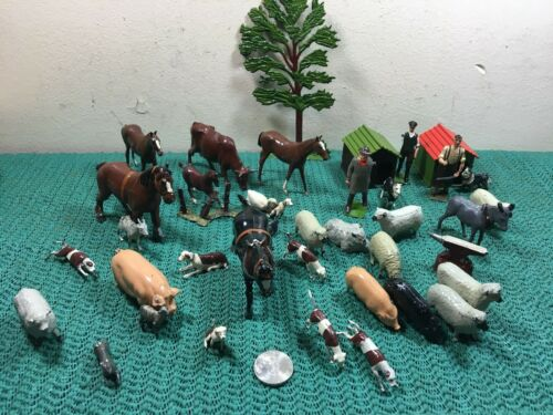 VINTAGE LOT OF 40 MADE IN ENGLAND METAL/LEAD FARM ANIMALS , PEOPLE & TOOL TOYS