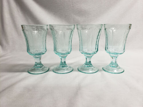 Set of 4 Vintage Indiana Recollection Madrid Aqua Teal Water Goblets