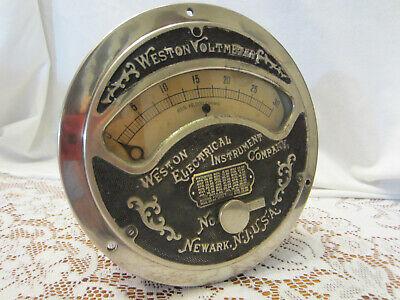 Antique Industrial Weston Electrical Instrument Voltmeter Steampunk Meter Vtg