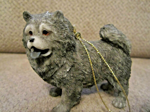 "Black chow chow dog ornament figurine resin 3.25"""