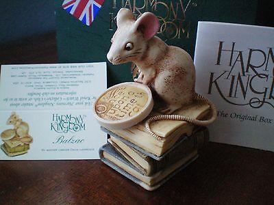 Harmony Kingdom Balzac  Mouse Reading Books UK Made Box Figurine NIB