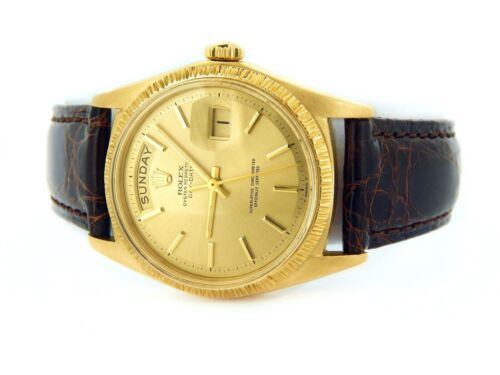 Mens Rolex Day-date President 18k Yellow Gold Watch Bark Bezel Champagne 1807