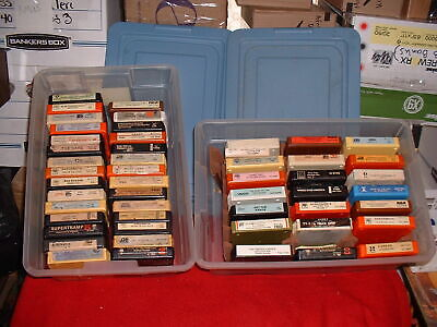 LOT OF 50 VINTAGE 8 TRACK TAPES UNTESTED BOWIE KISS AEROSMITH & OTHERS