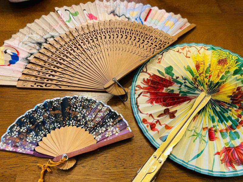 Four Vintage Asian Handpainted Fans