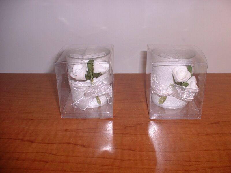 NEW SET OF TWO VOTIVE CANDLES WITH GLASS VOTIVE HOLDERS WITH RIBBON ROSES