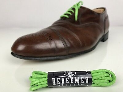 Colored Shoelaces Waxed Cotton - Lime Green Dress Laces 30in By Redeemed Soles