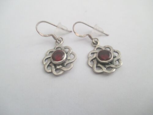 Celtic Dangle Earrings..STERLING SILVER..imitation red stone..nice look..NEW