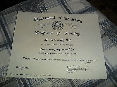 1964  Department of The Army Certificate / H.C. Needles / Walter Reed