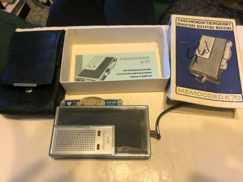 Vintage Memocord K70 Miniature Dictating Machine = Taschendiktiergerat German
