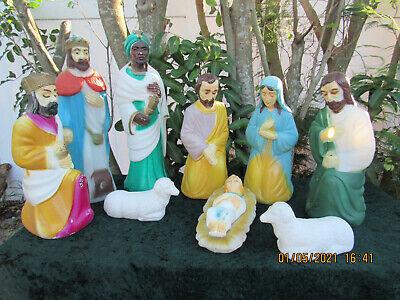 TRUE~Vintage Empire U.S.A.~ 10 Piece Blow Mold Nativity Set Christmas DECOR