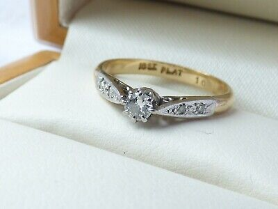 18ct yellow gold and Platinum solitaire ring Sz K