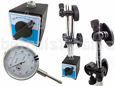 Universal 3d Deluxe Magnetic Base Holder 132lbs 1 Dial Indicator White Face