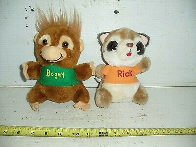 OLD VINTAGE STUFFED ANIMAL SHIRT TALES RICK RACOON BOGEY MONKEY PLUSH 1980s, used for sale  Mount Wolf