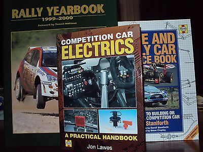 3 x HARDBACK RACE & RALLY CAR SOURCE BOOKS COMPETITION CAR ELECTRICS & YEARBOOK