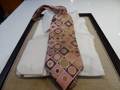 Circle Silk Tie - Saliari Silk Tie Necktie Taupe Brown Pink Purple circle dot diamond