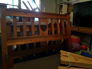 QUEEN Bed solid oak timber with pine slate Carlton Melbourne City Preview