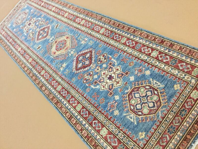 "Light Blue Persian Oriental Rug Geometric Runner Hand Knotted Wool 3'.1"" X 9'.4"""