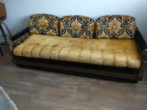 Spanish Revival Sofa1920s Carved Spindles with Cast Iron Hardware/Chains