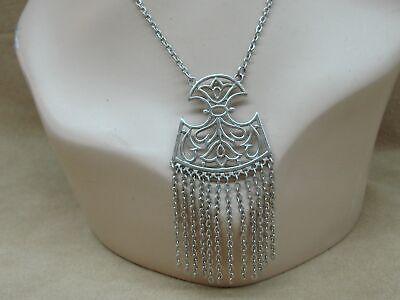 60s -70s Jewelry – Necklaces, Earrings, Rings, Bracelets VINTAGE 1960'S ERA CROWN TRIFARI FILIGREE TULIP PENDANT W/CHAINS NECKLACE! $36.95 AT vintagedancer.com