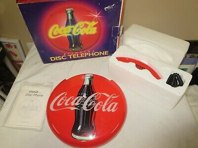 1995 COCA COLA DISC TELEPHONE Blinking Neon Musical Coke Vintage Phone RARE +Box