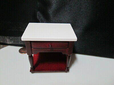 Dollhouse Miniature End Table or Night Stand with Drawer - Mahogany w/ White Top