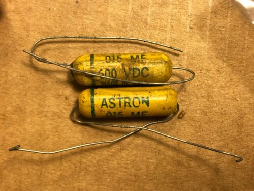 2 NOS Vintage Astron .015 uf 600v Mustard Capacitors Amp Tone Caps Test .017 .02