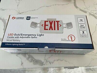Led Exit Emergency Light Combo Adjustable Optics Lithonia Lighting New
