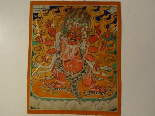 ANTIQUE MONGOLIAN BUDDHIST THANGKA PAINTING OF A HAYAGRIVA
