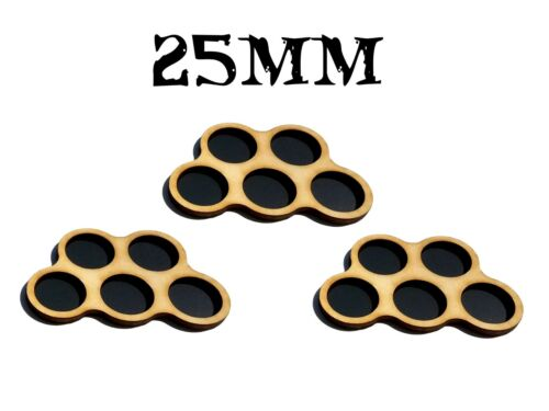 Game Movement Tray 5 pc Trays 25mm base for Warhammer  40k Age of Sigmar 3pc set