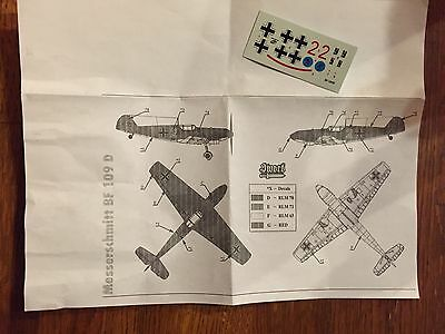 1/72 Sword Messerschmitt bf-109D Decal sheet