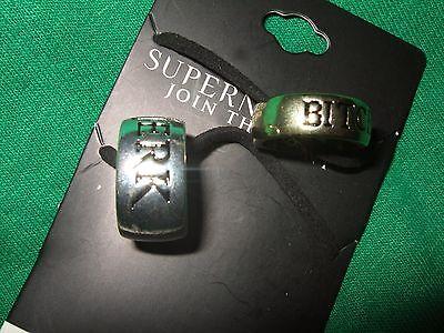 Supernatural Bitch & Jerk Ring Necklace Pendant 2 Pc Set BFF Bestie Best Friends