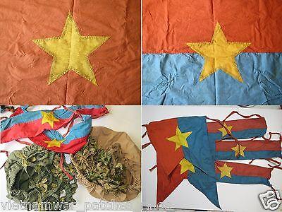 2 flags , HELMET COVERS , ARMBAND  , VIETCONG ,  Battle Flag  , Vietnam War
