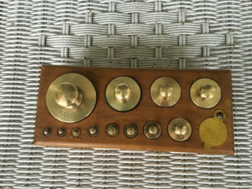 VINTAGE BRASS STANSI SCIENTIFIC CO. CHICAGO 22 WEIGHT SCALE 12 SET FREE SHIP~