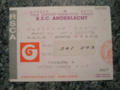 Ticket: Anderlecht - Sparta Prague UEFA (3-11-93)