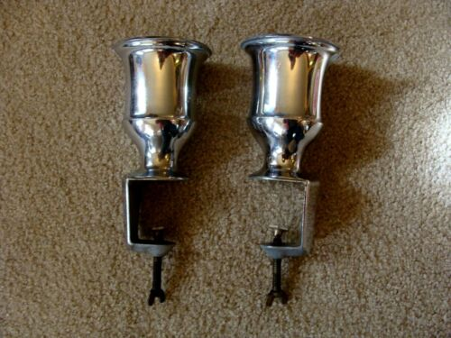PAIR Heavy Antique/Vintage Cast iron & chromed Soda Fountain Syrup Holders