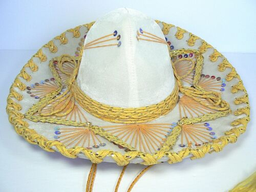 "AUTHENTIC PIGALLE XXXXX MEXICAN MARIACHI 15"" SOMBRERO SEQUINS TAN GOLD"