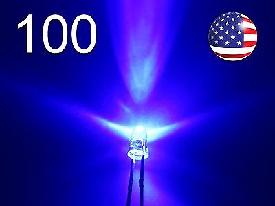 100pcs 3mm Blue Superbright Led - Water Clear Round Lamp - Diode Light - Diy Rc
