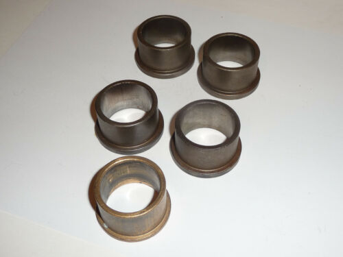 Lot of 5 Used Oil Impregnated Bronze Bushings 1 1/4x1 1/2x1 Flange 1 3/4x3/16