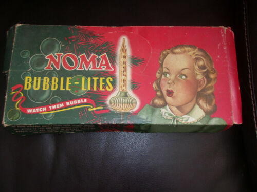 """9 Vintage C-6 NOMA """"Biscuit"""" Christmas Bubble Lites,  Lights, In Box"""